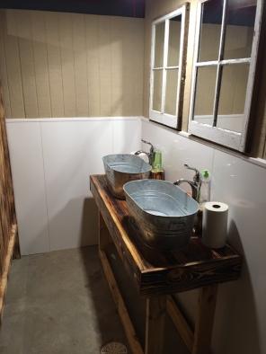 Rustic women's bathroom